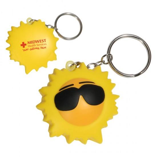 Custom Logo Cool Sun Key Chain/ Stress Toy